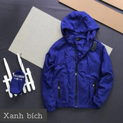 Áo khoác dù Pull & Bear xanh bích