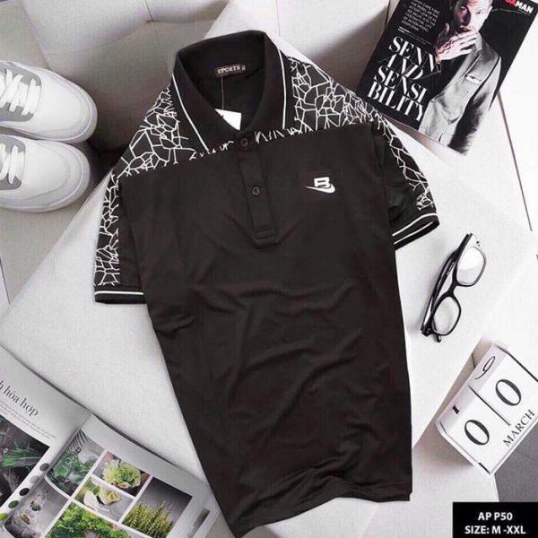 Áo thun nam Sport phối họa tiết màu đen