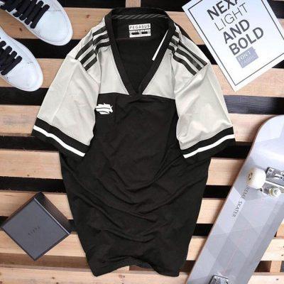 Áo thun thể thao cô tròn Peganus đen phối trắng