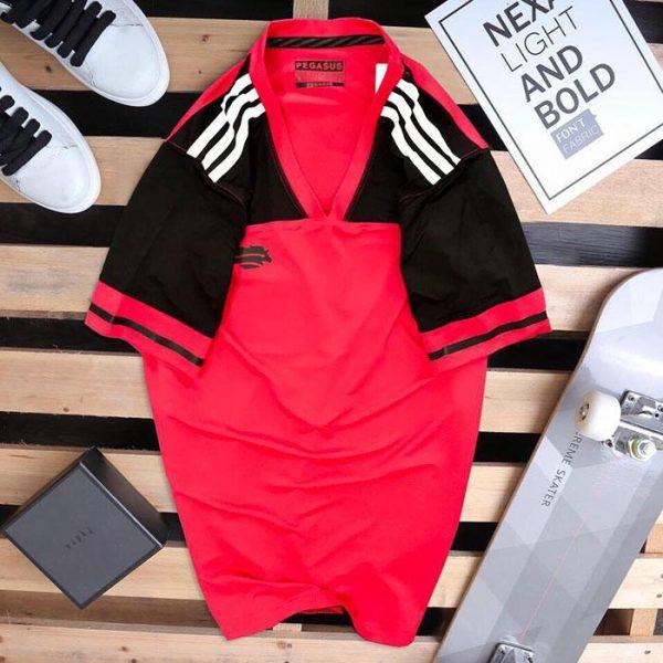 Áo thun thể thao cô tròn Peganus đỏ phối đen