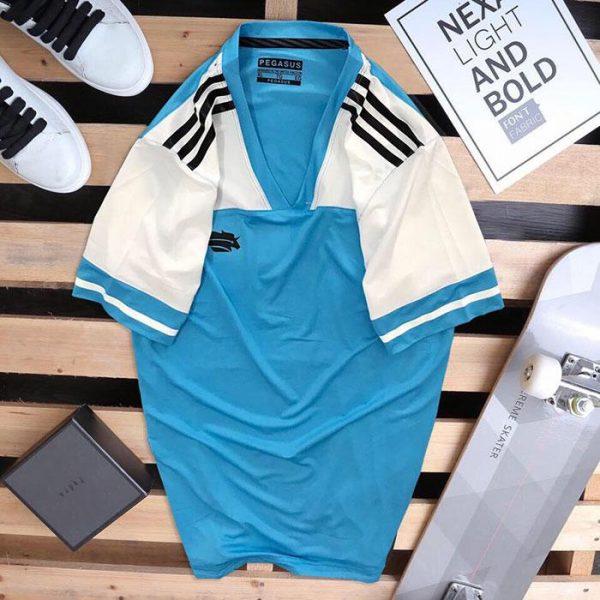 Áo thun thể thao cổ tròn Peganus xanh dương phối trắng