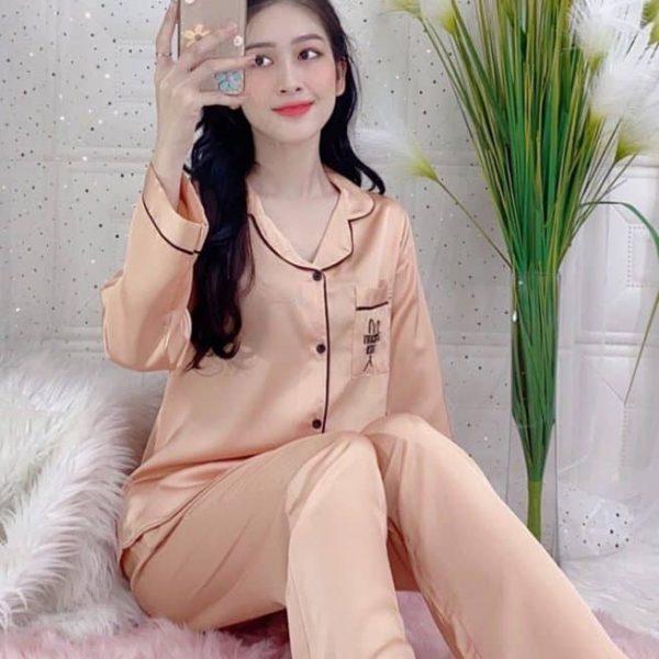Đồ bộ nữ mặc nhà quần dài lụa Satin trơn cam đất