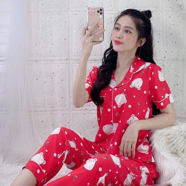 Đồ bộ nữ mặc nhà quần dài lụa Thái 4