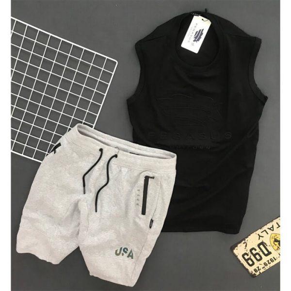 Đồ bộ nam thể thao Peganus quần xám nhạt áo đen