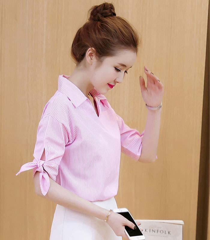 Áo kiểu phối sọc tay nơ duyên dáng hình 1