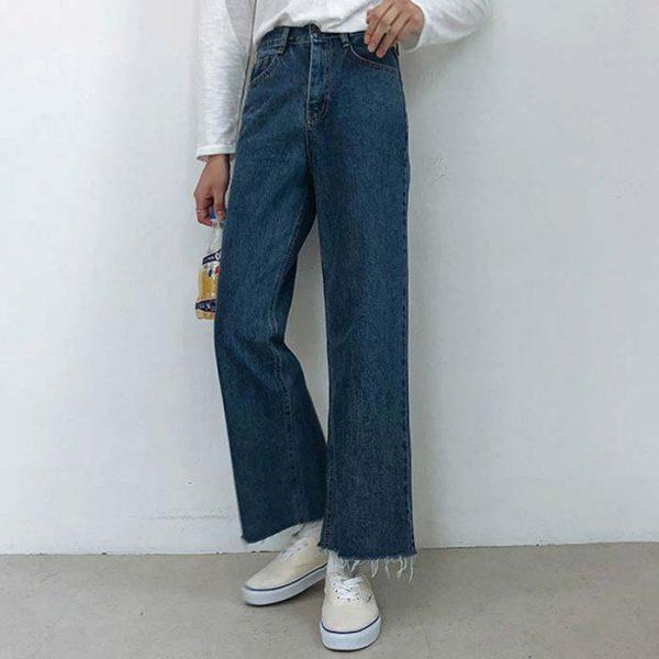 Quần jean nữ dài ống rộng trẻ trung