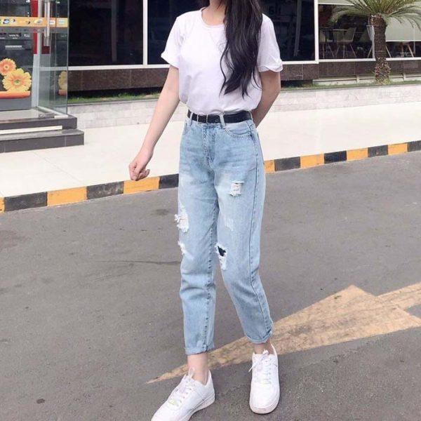 Quần jean nữ rách lưng cao Form chuẩn