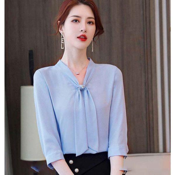 Áo kiểu nữ cổ V buộc nơ màu xanh biển nhạt 2