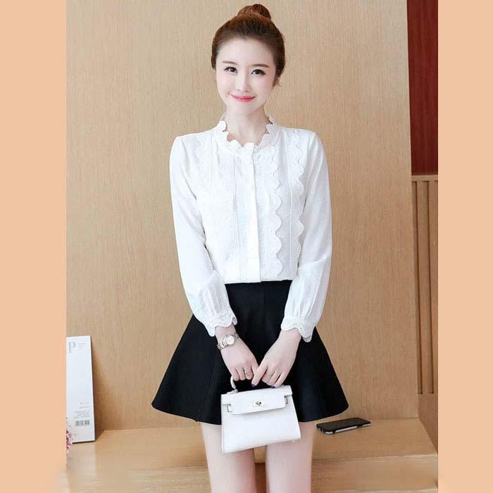 Áo kiểu nữ phối viền ren dài tay màu trắng 2