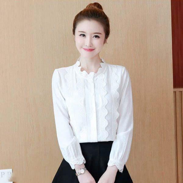Áo kiểu nữ phối viền ren dài tay màu trắng 1