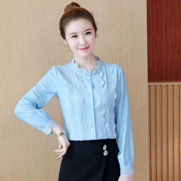 Áo kiểu nữ phối viền ren dài tay màu xanh biển 2