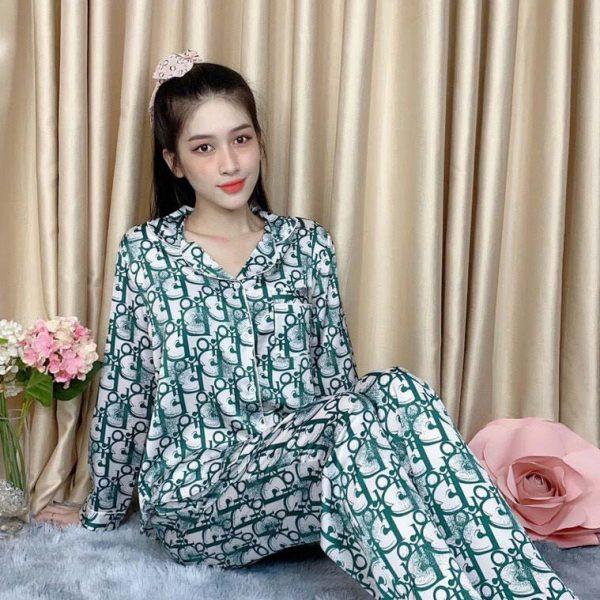 Đồ bộ nữ quần dài tay dài lụa Satin họa tiết 5