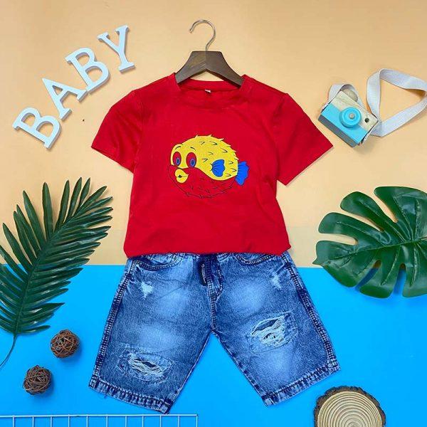 Quần jean lửng áo thun cotton trẻ em 5