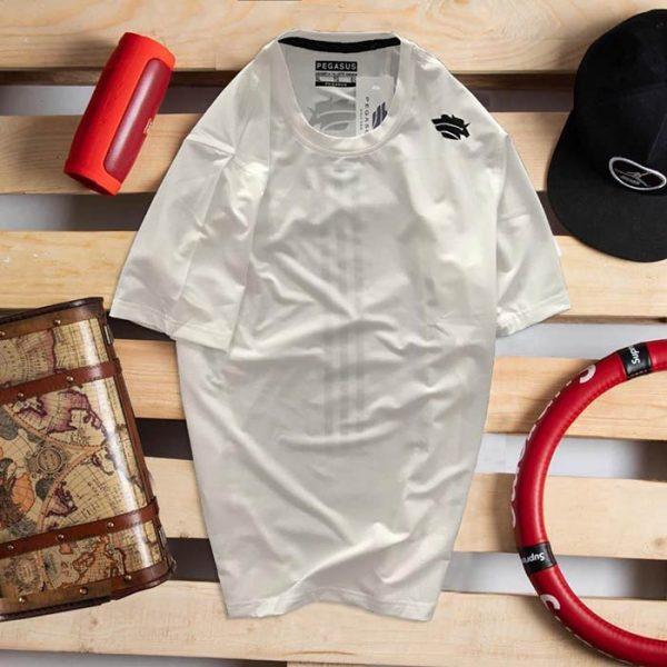 Áo thun nam thể thao cổ tròn Pegasus trắng 1