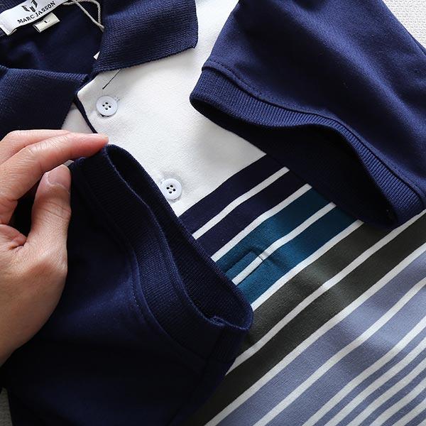 Áo thun nam cổ bẻ sọc ngang trước ngực tay và cổ phối màu xanh dương 1