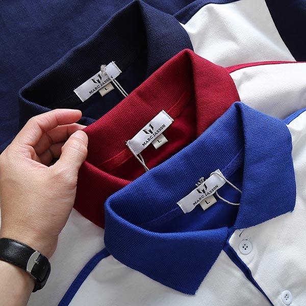 Áo thun nam cổ bẻ sọc ngang trước ngực tay và cổ phối màu