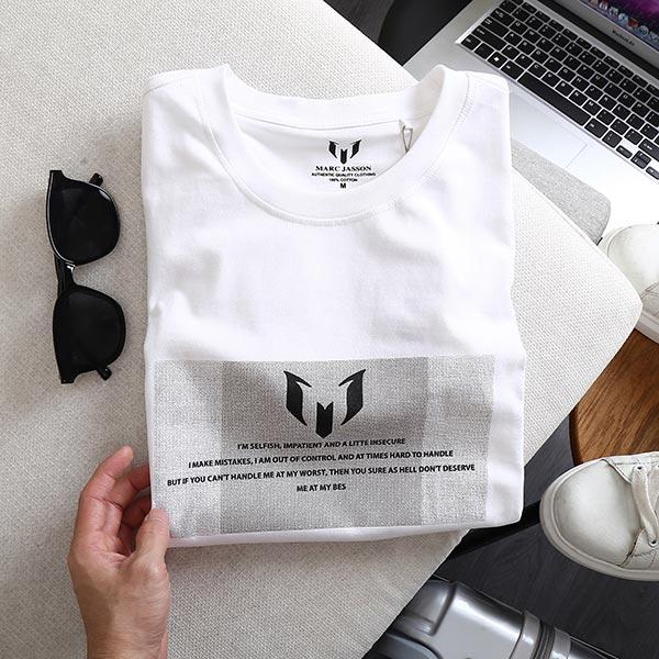 Áo thun nam cotton single 2 chiều trắng 1